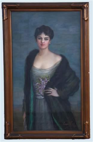 1915 Laure Prevet Portrait Oil  Large Dramatic Period