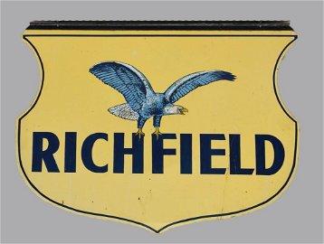 Vintage HUGE Richfield Oil Service Station Hanging Sign
