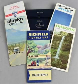 Vintage Richfield Highway Maps in Case