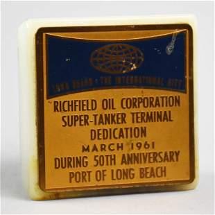 1961 Richfield Oil Marble Paperweight, Long Beach