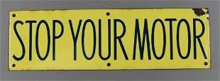 Vintage Richfield Oil Corp Stop Your Motor Porcelain