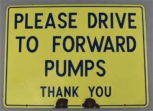Vintage Richfield Oil Corp Porcelain Drive Forward Sign