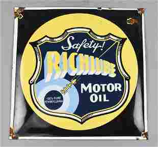 Vintage RichLube Oil Metal Safety Sign
