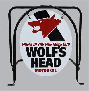 Vintage Wolf's Head Motor Oil Sign w/ Bracket Frame