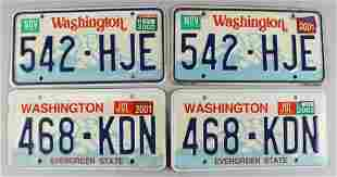 (2) Pairs of Washington State License Plates, Exp