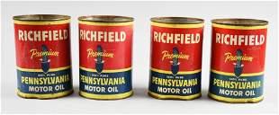 (4) Richfield Oil Corp Pennsylvania Motor Oil Cans