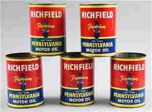 (5) Richfield Oil Corp Pennsylvania Motor Oil Cans