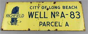Vintage Richfield Long Beach, CA Porcelain Well Sign