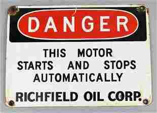 Vintage Richfield Oil Corp Porcelain Danger Sign