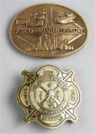 (2) Vintage ARCO Brigade & Pipeline Advertising Belt