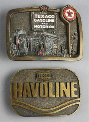 (2) Vintage Texaco Belt Buckles