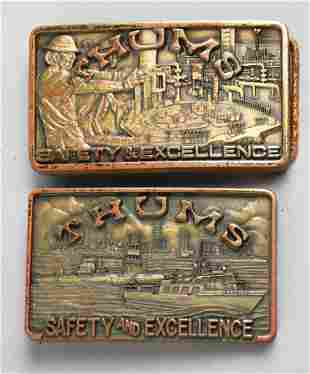 Vintage Thums Safety & Excellence Belt Buckles CA