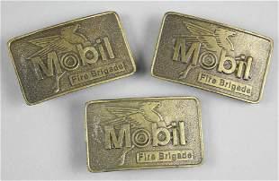 (3) Vintage Mobil Fire Brigade Belt Buckles