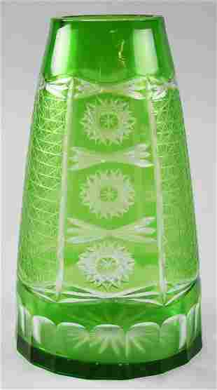 Vintage Bohemian Green Cut to Clear Crystal Vase