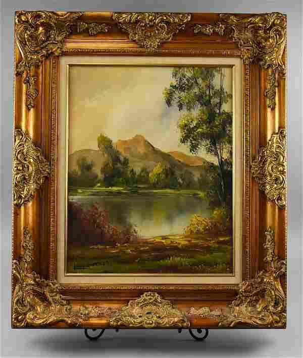 Vintage Oil Painting Landscape, Signed Long
