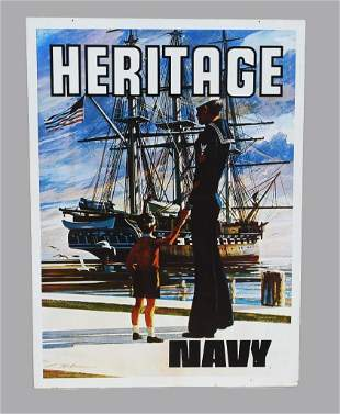 1975 Double Sided Navy Recruitment Metal Sign LARGE