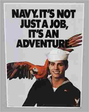 Vintage Double Sided Navy Recruitment Metal Sign LARGE