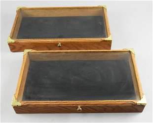Vintage Oak Table Top Flat Display Cases