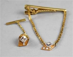 Vintage ARCO Service Pin 10K Diamond Tie Tack Tie Bar