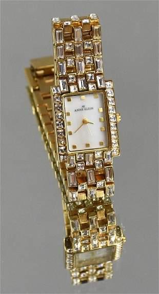 Anne Klein Gold Crystal Band MOP Ladies Watch