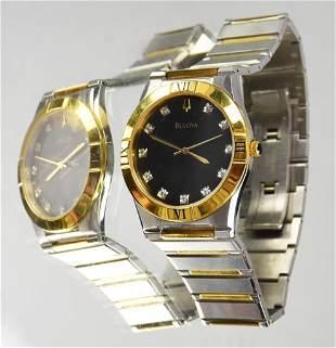 Men's Bulova 2 Tone Diamond Quartz Watch