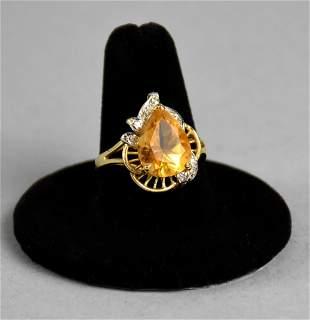 Very Nice 14k Gold Diamond Citrine Ring