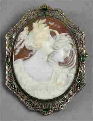 Antique Shell Cameo in 14K White Gold Filigree,