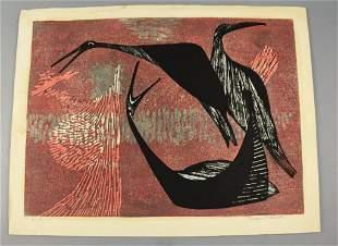 Tamami Shima (1937-1999) Lt Ed Woodblock Print