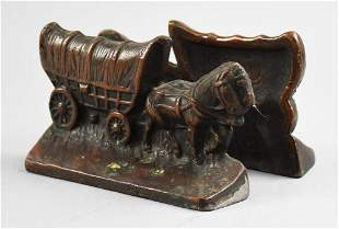 Antique Bronze Covered Wagon & Horse Bookends