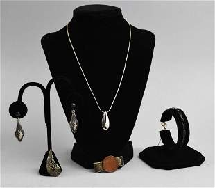Vintage Sterling Jewelry Lot, Necklace, Earrings & More