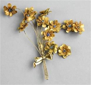 Vintage Sterling Flower Bouquet, Blue Rhinestones