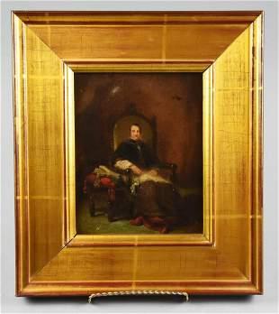 Antique Oil on Board Religious Figure Portrait