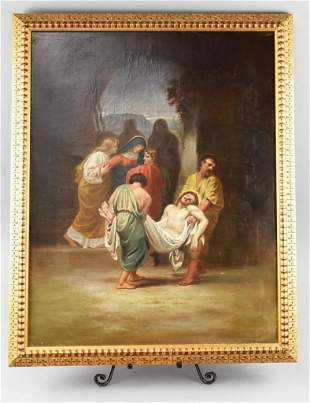 19th C Burial of Christ Oil On Canvas Painting