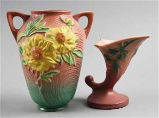 Vintage Roseville Peony & Foxglove Vases