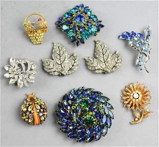 Vintage Costume Jewelry, Rhinestone Brooch Lot