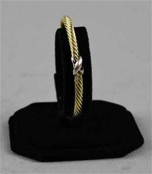 David Yurman 14K X Cable Cuff Bracelet