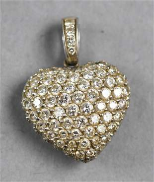 18K White Gold and Diamond Pave Heart Pendant
