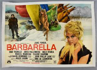 Rare 1968 Linen Backed Barbarella Italian Movie Poster