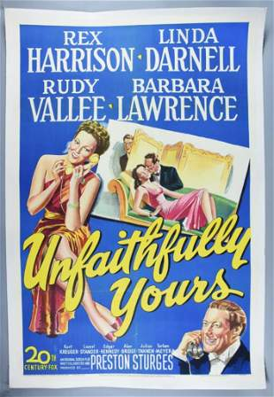 1948 Linen Backed Unfaithfully Yours Movie Poster