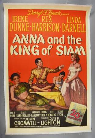 1946 Linen Backed Anna & The King of Siam Movie Poster