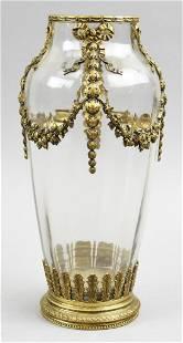 French Crystal & Gilt Bronze Urn Vase, Attrib Baccarat