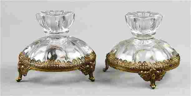 French Crystal & Gilt Bronze Pedestal Candle Holders,