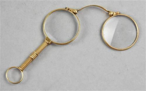 Antique 14K Yellow Gold Lorgnette/Quizzing Glasses