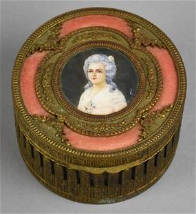 French Bronze, Hand Painted Portrait Powder Jar Signed