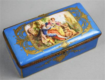 Antique Signed Enamel Limoges Parcel-Gilt Bleu Celeste