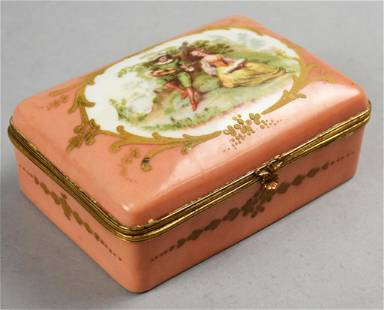 Antique French Limoges Porcelain Jewelry or Trinket Box