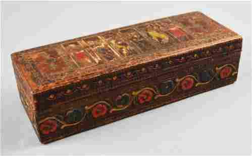 Antique Tooled Leather Religious Box