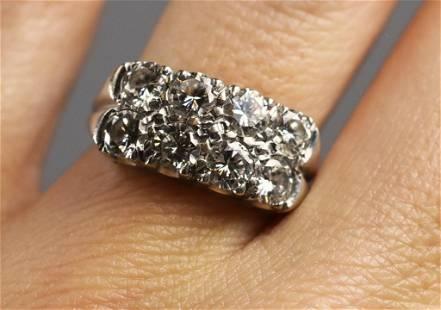 14K White Gold & 8 Diamond Pave Ring