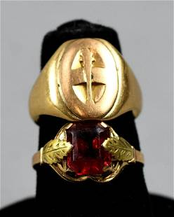 Antique 10K and 14K Gold Rings, One Gemstone