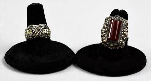 Art Deco Sterling, Carnelian and Marcasite Rings